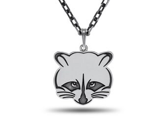 Raccoon necklace, Raccoon Jewelry, Raccoon Silver, Raccoon pendant / Solid Sterling Silver (Silver 925)
