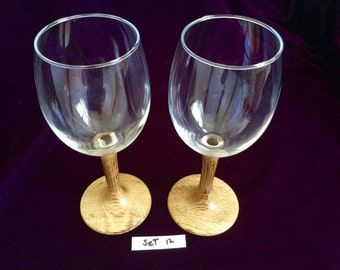 Wine glasses with hand-turned burned white oak wooden stems