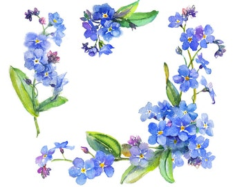 Vignette blue flowers watercolor