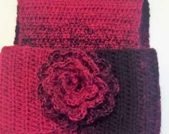 Black and Red Scarf and Headband
