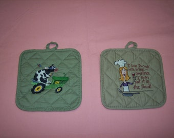 potholders embroidered