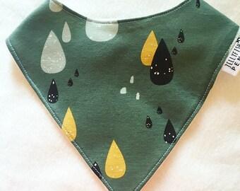 Khaki green raindrops handmade bandana style dribble bib