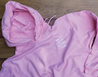 AntiSocial Social Club Hoodie Anti Social Social Club Hooded Kanye Sweatshirts Pink - Unisex Hoodie - Kanye West - Concert Hoodie