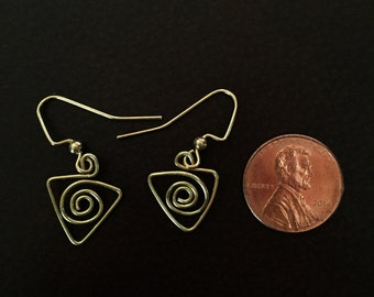 Spiral Triangle Dangle Earrings