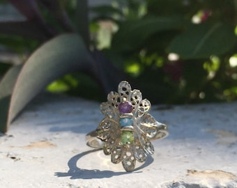 Ring Size 10, 925 Sterling Silver Birthstone Ring with Amethyst, Blue Topaz and Peridot