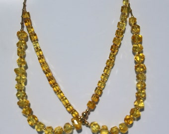Modern design Baltic amber necklace with gold-filled