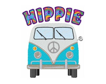 Hippie Bus - Machine Embroidery Design