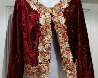 Beautiful velour bohemian beaded fitted vintage cropped jacket uk 6-8