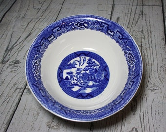 Homer Laughlin Blue Willow Serving Bowl, Footed, by Homer Laughlin, vintage