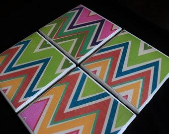 Tile Coasters - Ceramic Coasters - Chevron Coasters - Ceramic Tile Coasters - Coaster Set - Table Coasters - Coaster - Tile Coaster