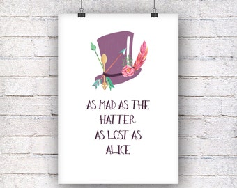 As mad as the hatter as lost as Alice art print gift family art print, fine art print