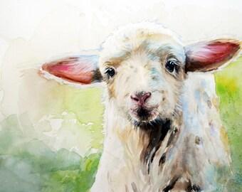 "Watercolor Original Print, Little Lamb, Wall Art, Farm Animals, 11""x8"""
