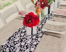 Table Runner Table Centerpiece Kitchen Dining Room Black and White Party Decor Scroll Floral Table Linens