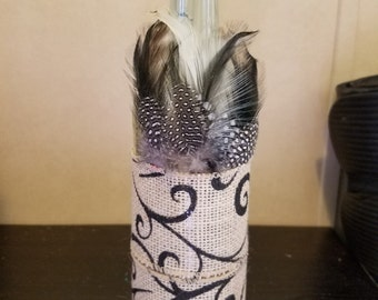 Feather & Burlap Wine Bottle