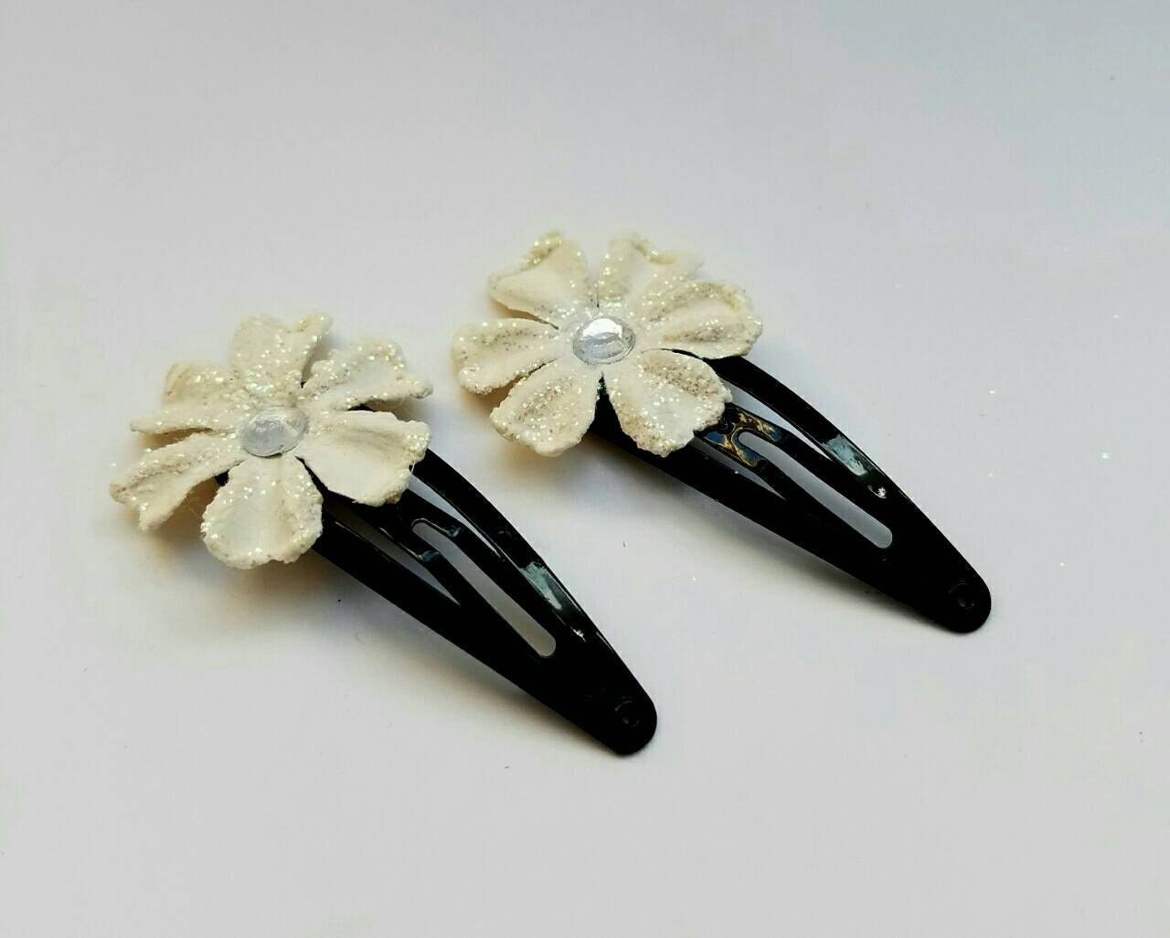 Ivory Flower Barrettes Hair Clips with Glitter and