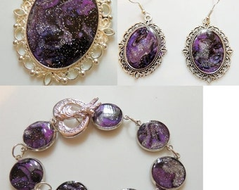 Sizzlin Summer Sale Artisan Created Jewelry Set Mystical Impressions in Purple
