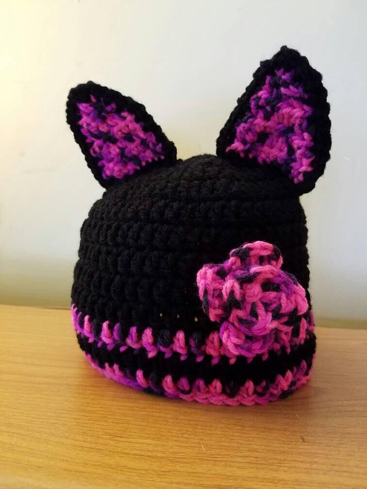 b45643f5353 SALE Black Cat Hat With Flower
