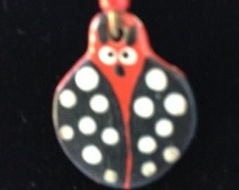 Earrings, vintage hand painted ladybug earrings