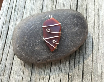 Red Recycled Art Glass Pendant