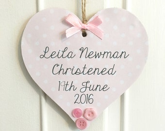Christening Baptism Personalised Wooden Quote Heart/Star Plaque - Any Name And Text - Baby Boy/Girl Nursery Decor Sign Gift Present