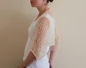 Mohair Knit Shrug / Light Beige Ivory Shrug / Loose Knit Soft Creamy Summer Shrug / Women's Shrug /Wedding Shrug/ Ready To Ship