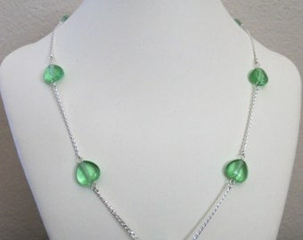 Light teal bead and sterling silver chain necklace