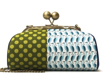 Clutch with Strap, Kiss Lock Purse, Crossbody Clutch, Heron Fabric, Green Clutch, Green and Blue Purse, Canvas Bag, Across the Pond