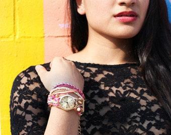 Jewel strap watch bracelet wrap
