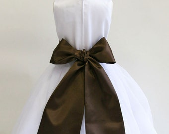Buy 1 Get 1 Free Designer US Angels- CHOCOLATE Satin Tapered Flower Girl Dress Sash