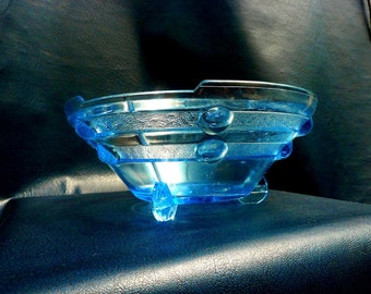Art Deco Blue Pressed Glass Vase