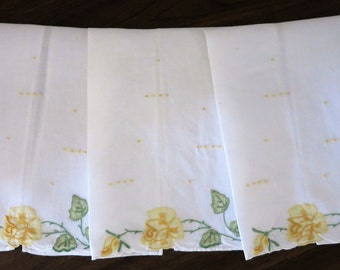 Three Vintage Linen Hand Embroidered and Applique GUEST TOWELS