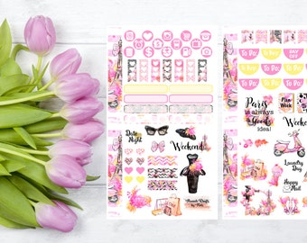 Paris Couture Personal Size Planner Sticker Kit, Pink, Yellow