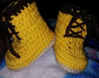 Timberland Work Boots Inspired Crocheted Baby Booties Newborn - 9 months
