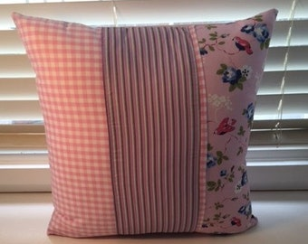 1/3 flower themed panel, 1/3 pink checkered panel, 1/3 striped panel cushion 45cmx45cm