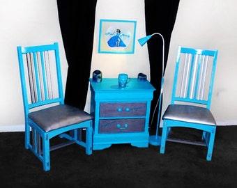 Custom Cerulean Blue Chair Set