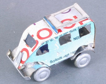 Miniature recycled (tin can) van - handmade in Madagascar