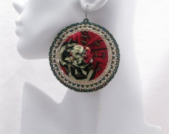 African Bloom #14 - Large Round Fabric Earrings