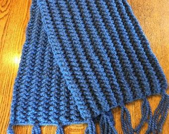 Wide Chunky Knit Ribbed Scarf With Fringe in Periwinkle