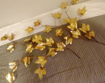 Set of Brass Leaves Wall Decor