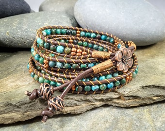 Chan Luu style, 5 wrap bracelet, African turquoise, leather cord wrap