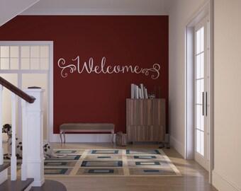 Swirly Welcome Wall or Door Vinyl Decal