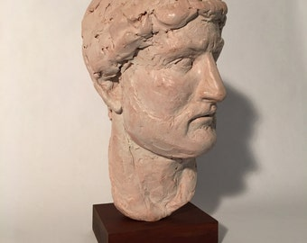 Sculpture of Hadrian, Clay sculpture, One of a Kind Sculpture, clay sketch, greek statue, roman statue