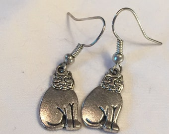 Earrings-Solid Color Cat (Silver)