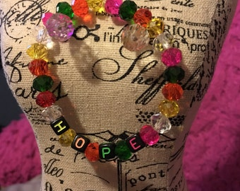 HOPE Faceted Glass Bead Message Bracelet