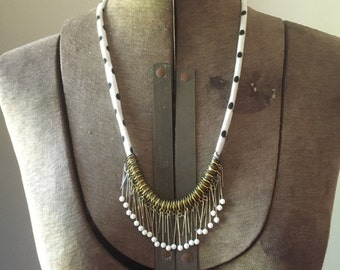 Jersey Polka Dot Cord & Pin Necklace