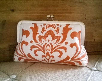 5 (Five) Orange Damask Bridesmaid Clutches Set- Gifts, Fall, Autumn Wedding