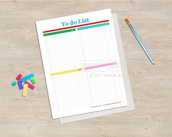 "To do list, planner insert, printable. To do list plan. A4 & US Letter (8.5"" x 11"") Size, Portrait. Instant download."