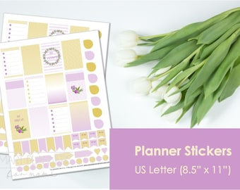 "Planner Stickers, printable, purple and mustard colors. US Letter Size (8.5""x11""), Portrait. Floral digital stickers. Instant download."