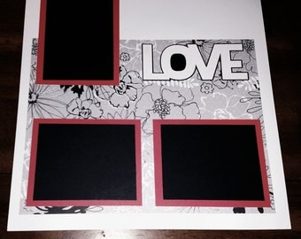 Black white and red LOVE scrapbook page
