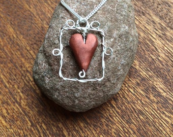 Heart in a silver frame necklace